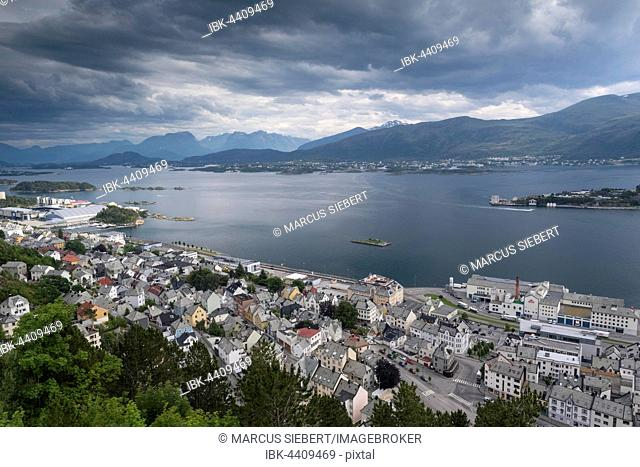 View of Alesund from Aksla Hill, Alesund, Møre og Romsdal province, Norway