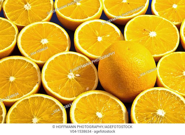 Close up of lots of oranges