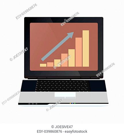 Business graphs on the laptop