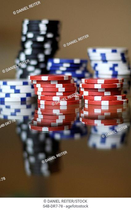 Piles of gambling chips