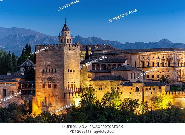 La Alhambra at sunset, moorish citadel and palace designated UNESCO World Heritage Site. Granada Andalusia, Spain Europe