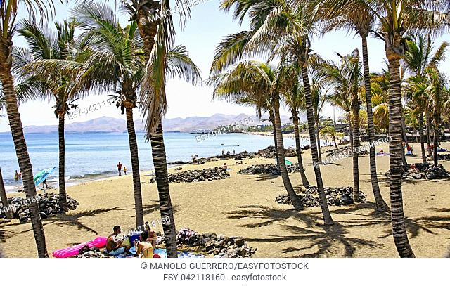 Panoramic of the beach of Puerto del Carmen, Lanzarote, Canary Islands, Spain