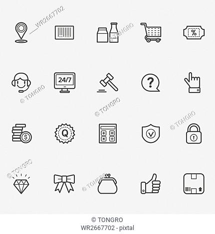 Various line icons related to shopping