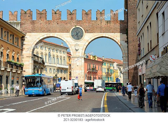 Portoni della Bra at the entrance to Piazza Bra in the historic centre of Verona - Italy