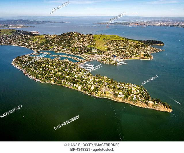 Aerial view, Belvedere Tiburon peninsula, San Francisco Bay Area, California, USA