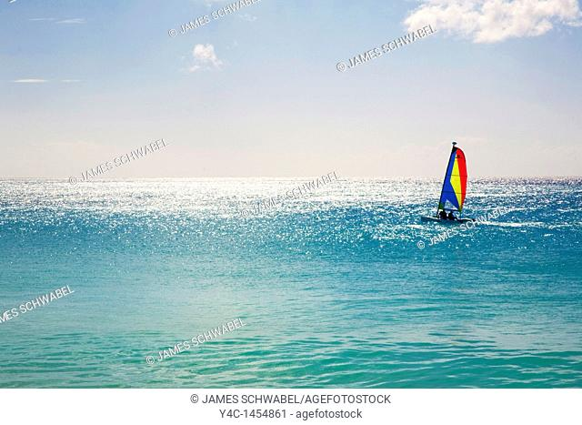 Sailboat in the Caribbean Sea off the island of Anguilla in the British West Indies