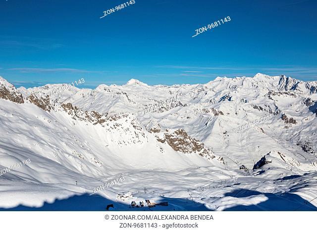 Paso Tonnale glacier during skiing season