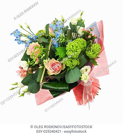 Flower bouquet from multi colored roses, iris and other flowers isolated on white background. Closeup
