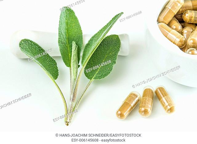 Sage leaves with herbal pills