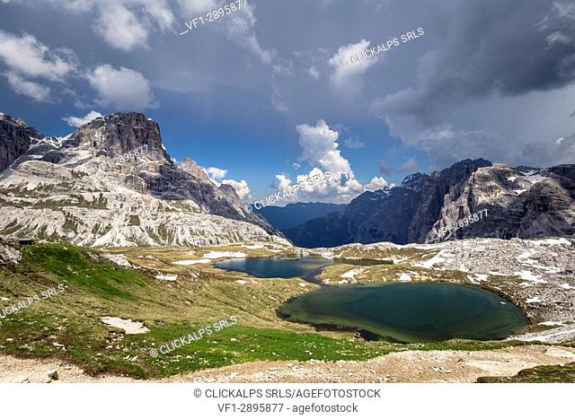 Lakes of the Plans View, Natural Park Three Peaks, Sesto Pusteria, Bolzano district, South Tyrol, Italy, Europe
