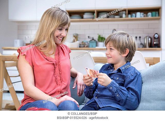 A child getting pocket money