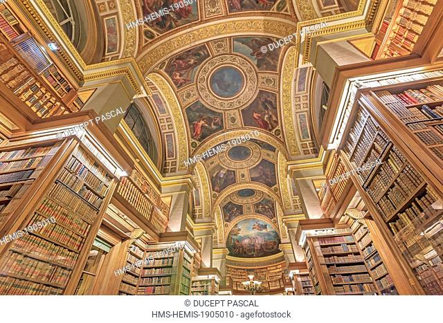 France, Paris, area listed as World Heritage by UNESCO, the French National Assembly (Palais Bourbon), the library by architect Jules de Joly
