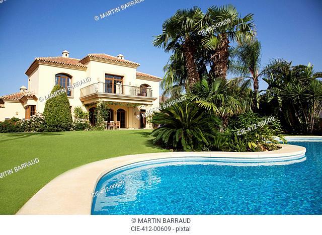 Swimming pool and Spanish villa