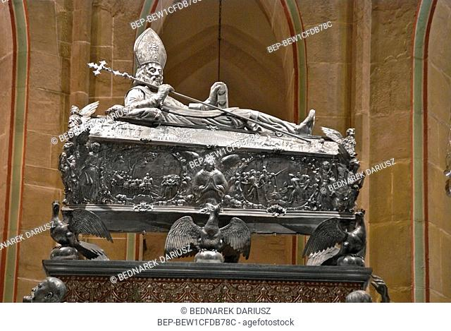 Royal Gniezno Cathedral's interior with sarcophagus St. Adalbert, historical and royal city in Greater Poland Voivodeship