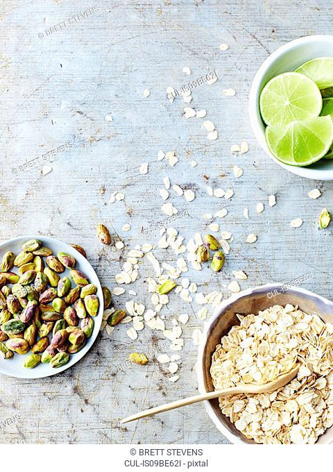 Pistachios, oats, lime