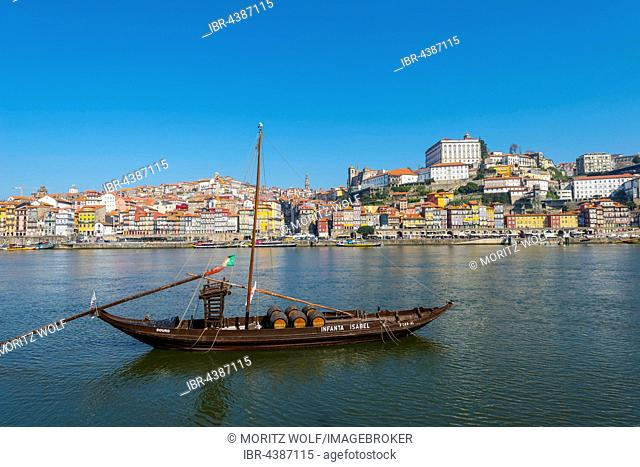Rabelo boat, port wine boat on River Douro, Porto, Portugal