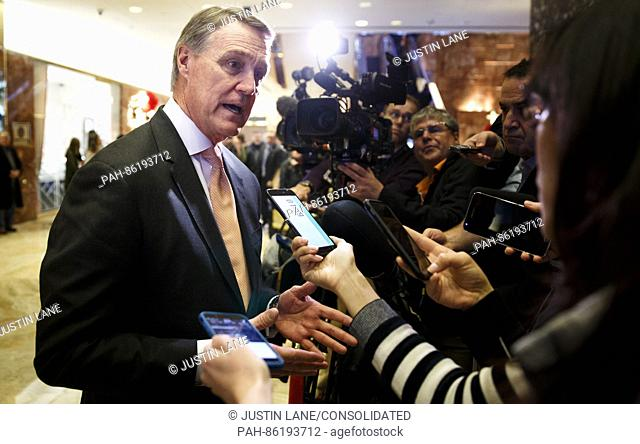 United States Senator David Perdue (Republican of Georgia) talks to reporters in the lobby of Trump Tower following a meeting with President-elect Donald Trump...