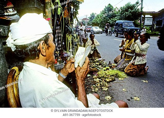 Hinduist religious ceremony (odalan) in the Celuk Temple. Bali island. Indonesia