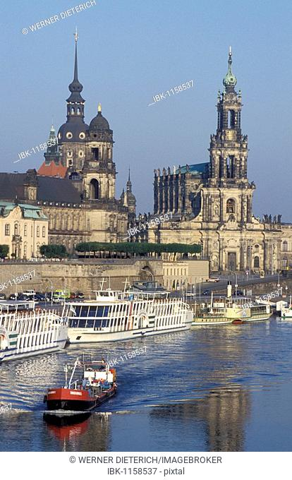 Skyline with a castle and Hofkirche Church, Elbe River, boat, Dresden, Saxony, Germany, Europe