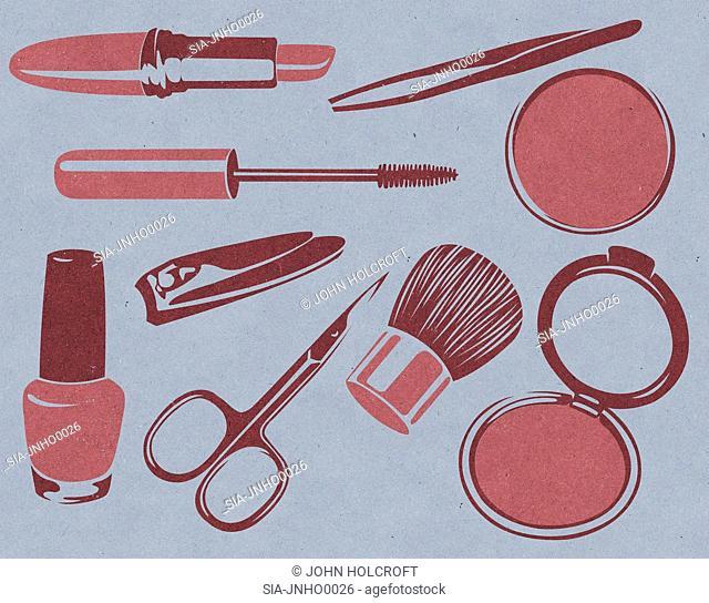 Make up utensils on blue
