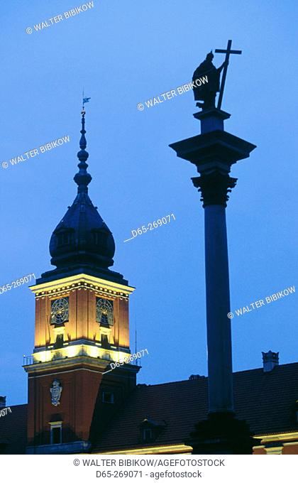 Monument to Sigismund III and the Royal Castle. Plac Zamkowy (Zamkowy Square). Old Town. Warsaw. Poland