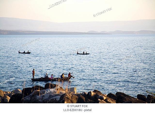 Local Zambian Fishermen in 'Plank' Boats  Lake Tanganyika, Northern Province, Zambia