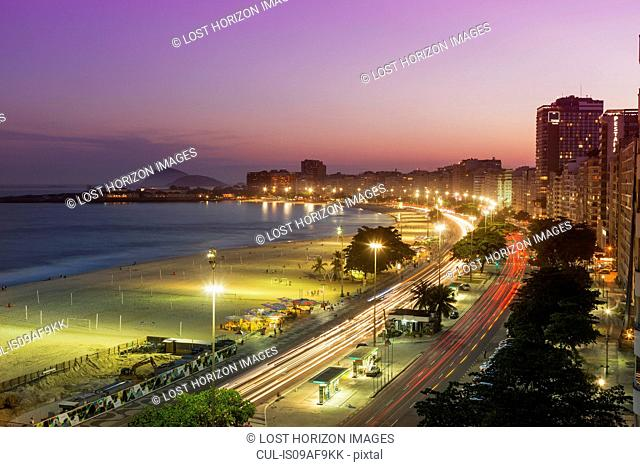 Highway and Copacabana beach at night, Rio De Janeiro, Brazil