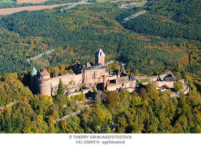 France, Bas Rhin 67, Orschwiller, Haut Koenigsbourg castle aerial view