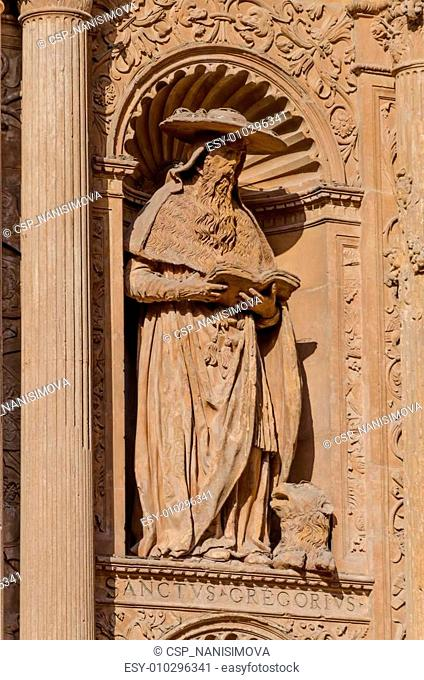 Details of San Gregorius sculpture on building in Spain