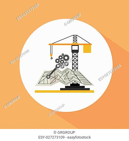 Engineer icon design over orange, background, vector illustration