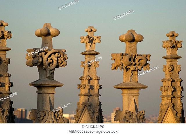 Details from the spires of Duomo (Milan, Lombardy, Italy)