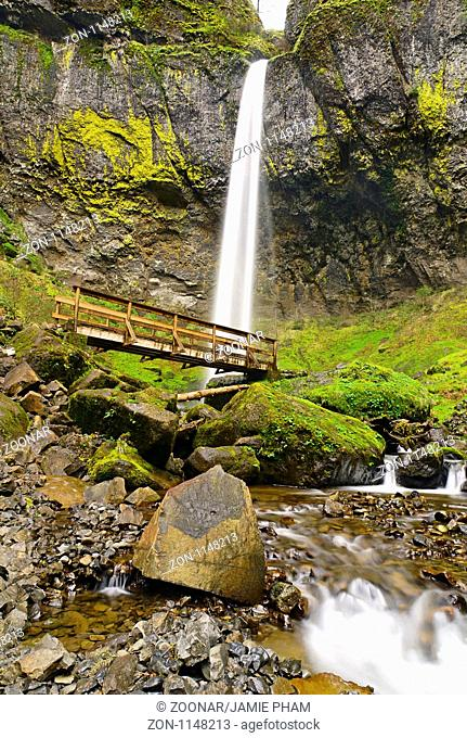 Lower angle of Elowah Falls in the Columbia River Gorge