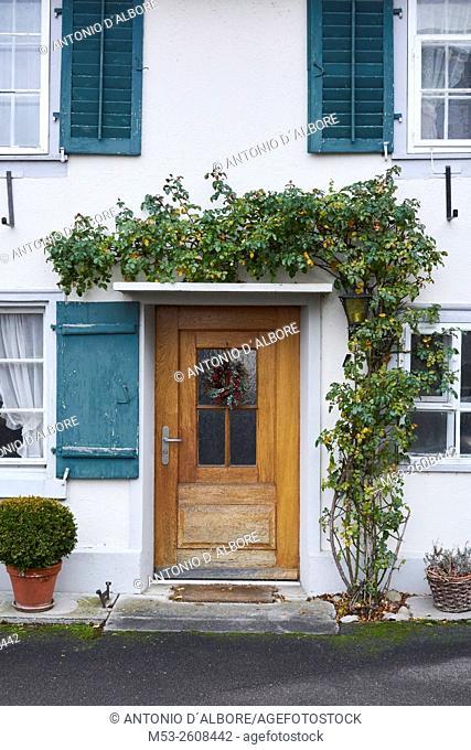 Entrance of a traditional swiss home. Gottlieben Municipality. Kreuzlingen District. Thurgau Canton. Switzerland
