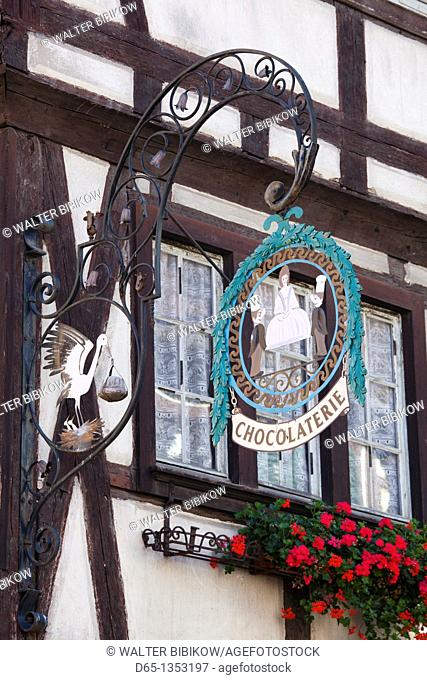 France, Haut-Rhin, Alsace Region, Alasatian Wine Route, Kaysersberg, town detail