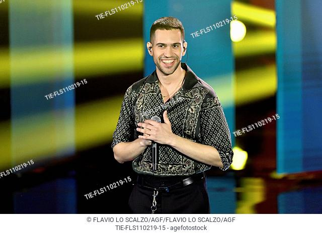 Singer Mahmood winner of 69th Sanremo Music Festival during the tv show Che tempo che fa, Milan, ITALY-10-02-2019