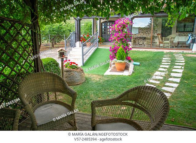 Garden in rural hotel. Covarrubias, Burgos province, Castilla Leon, Spain