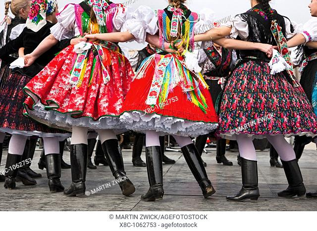 Easter in Hollokoe an UNESCO world heritage site in Hungary  Folk dance performance in paloc costume  Easter is celebrated to old folk tradtions with holy mass