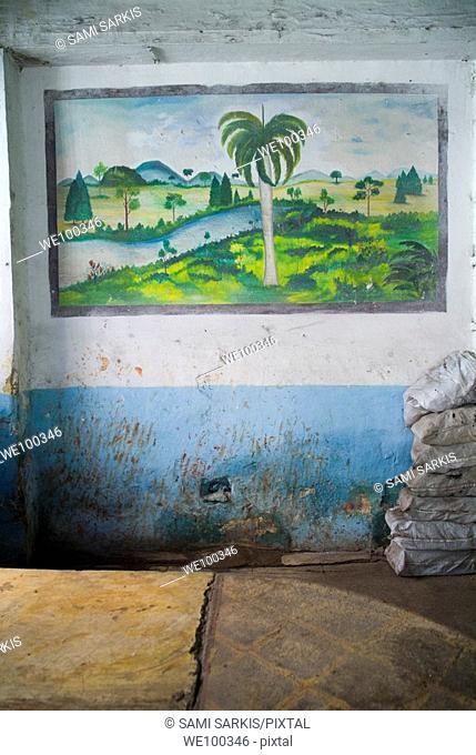 Landscape mural on a run down wall of a grocery store, Santa Clara, Cuba