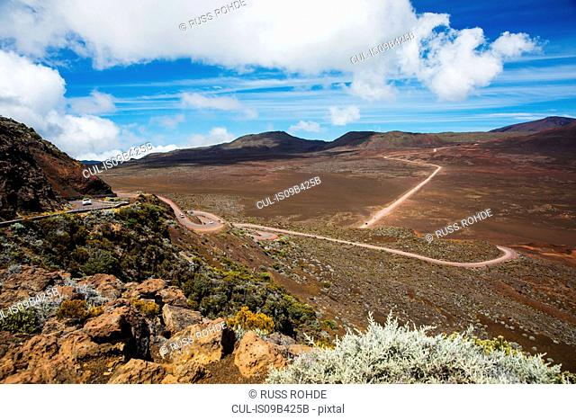 Volcanic landscape with highway, Reunion National Park, Reunion Island