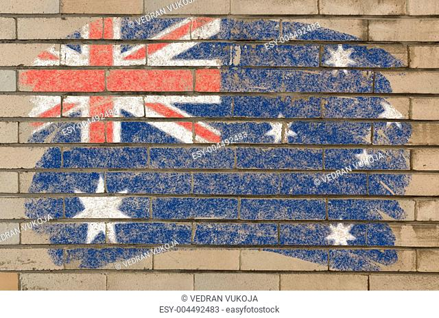 flag of Australia on grunge brick wall painted with chalk