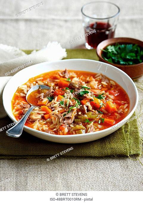 Bowl of lamb risoni soup