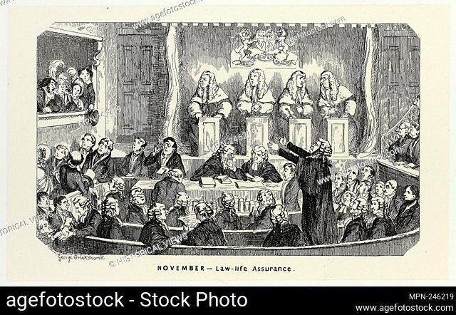 November - Law-Life Assurance from George Cruikshank's Steel Etchings to The Comic Almanacks: 1835-1853 - 1840, printed c