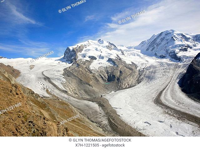 Monte Rosa, Dufourspitze with the Grenzgletscher and Gornergletscher, Switzerland