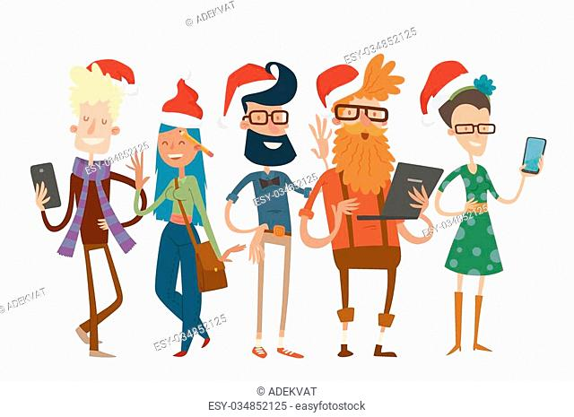 Business team people Christmas greeting card. Partners greeting card command people isolated.Design studio people Christmas holidays