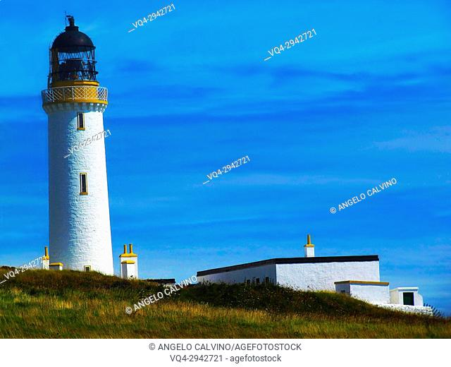 The Mull of Galloway Lighthouse with its 26 metre high tower was built from a design by Robert Stevenson, Galloway, Scotland, UK