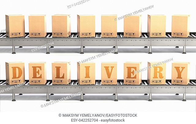 Conveyor belt and cadrboard boxes isolated on white with text delivery. Delivery, packaging and e-commerce concept. 3d illustration
