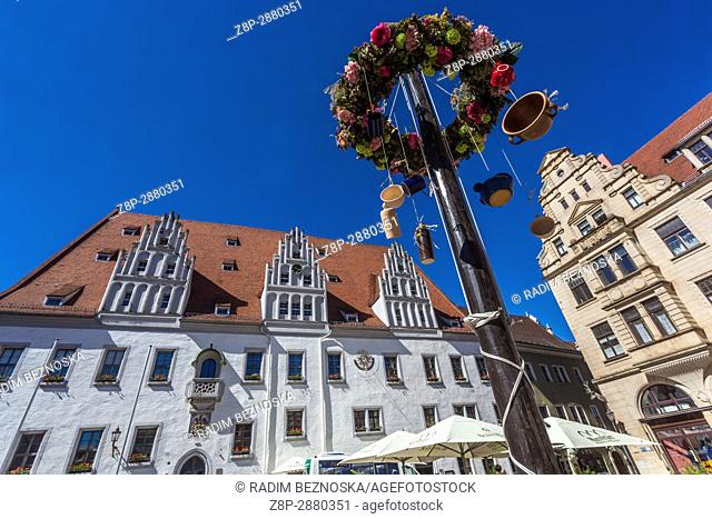 Maypole in front of The Town Hall on the Mark Plaz in Meissen, Saxony, Germany, Europe