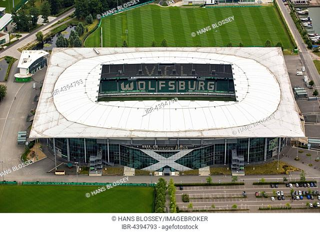 Aerial view, Volkswagen Arena of Wolfsburg, Bundesliga Football Club, Volkswagen factory in Wolfsburg, Lower Saxony, Germany