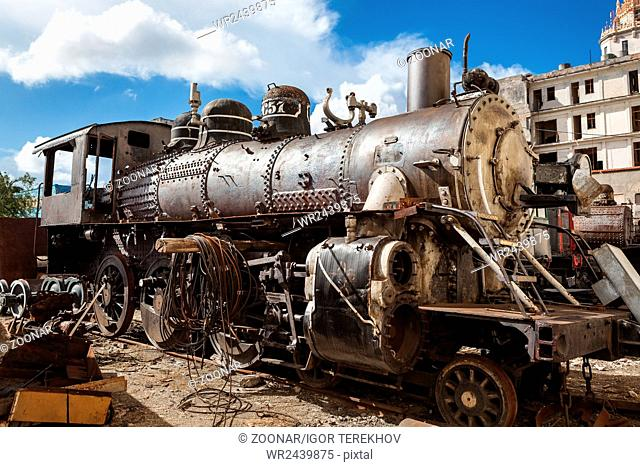 old and rusty steam locomotive