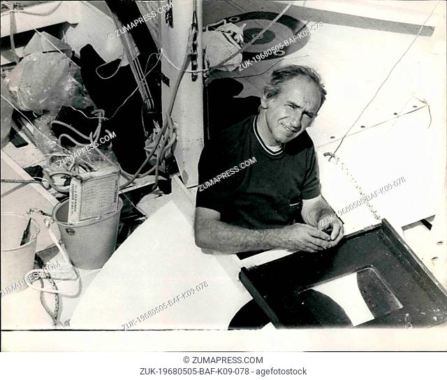 May 05, 1968 - Preparations For Tomorrow's Single-Handed Transatlantic Race. Photo shows COMMDT. B. Waquet,of France, at Plymouth today